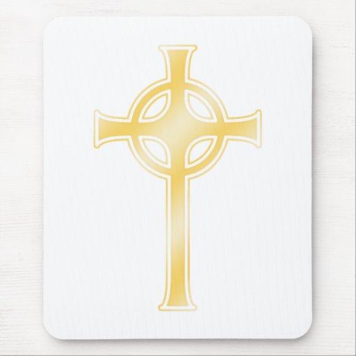Golden Celtic Christian Cross Mousepads