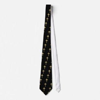 Golden Celtic Christian Cross Neck Tie