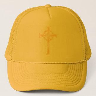 Golden Celtic Christian Cross Trucker Hat