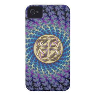 Golden Celtic Knot on a Colorful Spiral Fractal iPhone 4 Case-Mate Cases