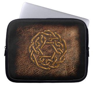 Golden celtic knot on geniune leather computer sleeve