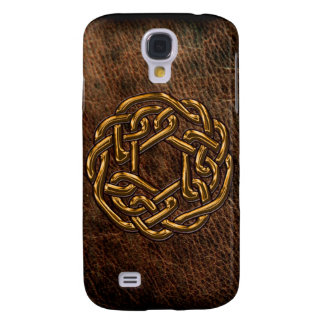 Golden celtic knot on leather galaxy s4 cover