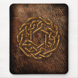 Golden celtic knot on leather mouse pad