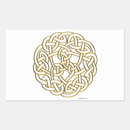 Golden Celtic Knot Rectangular Sticker | Zazzle