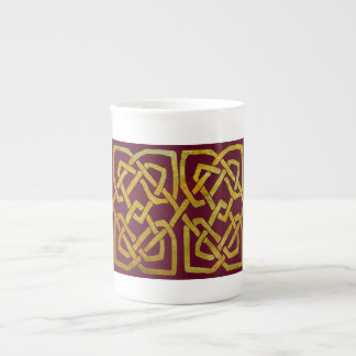 Golden Celtic Square Knots on Burgundy Porcelain Mug