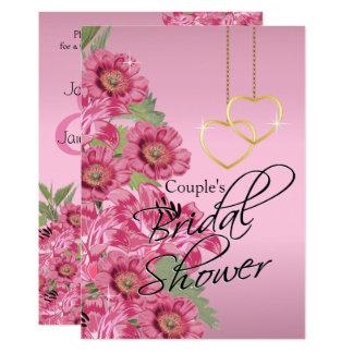 Golden Chain Hearts on Pink Satin - Invitation