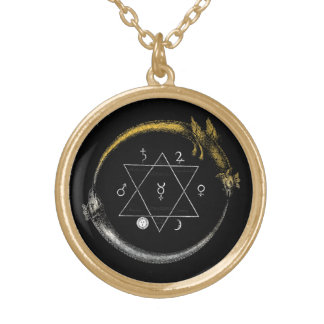 Golden Chain of Homer Round Pendant Necklace