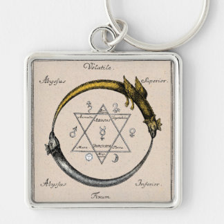 Golden Chain of Homer Silver-Colored Square Keychain