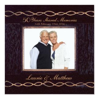 Golden Chain Wooden Photo Frame 50th Anniversary 5.25x5.25 Square Paper Invitation Card