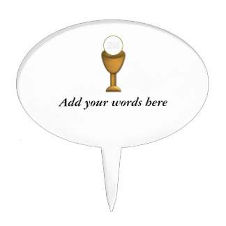 Golden Chalice and Host - Holy Communion Cake Topper