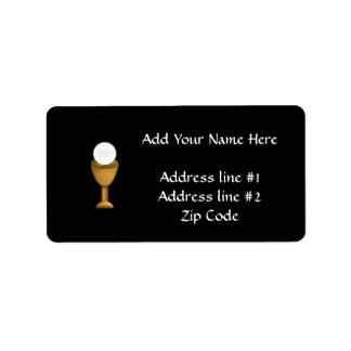 Golden Chalice and Host - Holy Communion Label