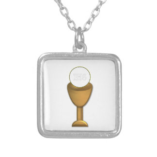 Golden Chalice and Host - Holy Communion Square Pendant Necklace