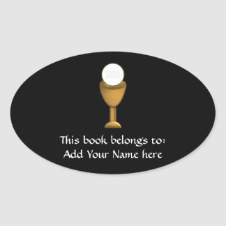 Golden Chalice and Host - Holy Communion Oval Sticker