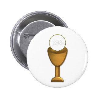 Golden Chalice and Host - Holy Communion Pinback Button
