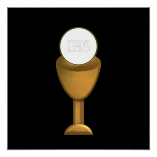 Golden Chalice and Host - Holy Communion Poster