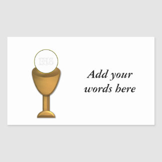 Golden Chalice and Host - Holy Communion Rectangular Sticker