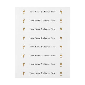 Golden Chalice and Host - Holy Communion Wrap Around Address Label
