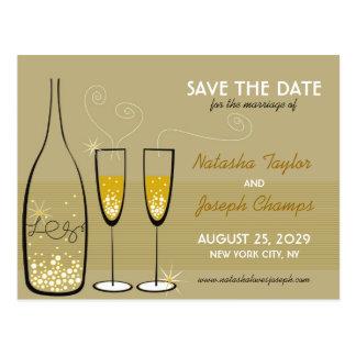 Golden Champagne Bubbles Celebration Save The Date Postcard