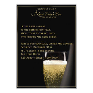 Golden Champagne Celebrations New Years Eve 5x7 Paper Invitation Card
