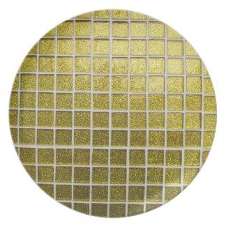golden checkered dinner plate