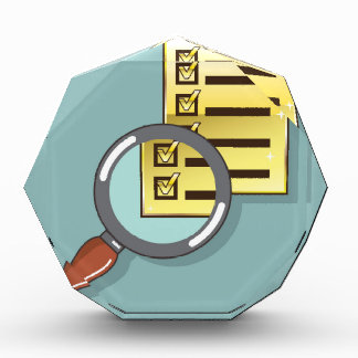Golden Checklist Magnifying glass zoom Vector Award