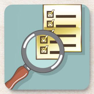 Golden Checklist Magnifying glass zoom Vector Beverage Coaster