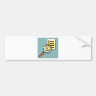 Golden Checklist Magnifying glass zoom Vector Bumper Sticker