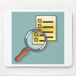 Golden Checklist Magnifying glass zoom Vector Mouse Pad