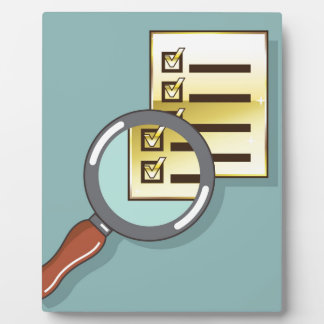 Golden Checklist Magnifying glass zoom Vector Plaque