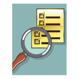 Golden Checklist Magnifying glass zoom Vector Postcard