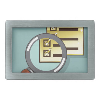 Golden Checklist Magnifying glass zoom Vector Rectangular Belt Buckle