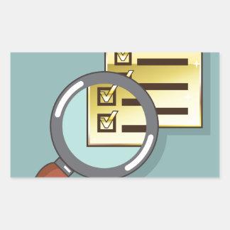 Golden Checklist Magnifying glass zoom Vector Rectangular Sticker