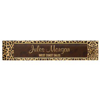 Golden Cheetah Animal Print for Her Name Plate