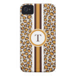 golden cheetah print  with monogram iPhone 4 cover