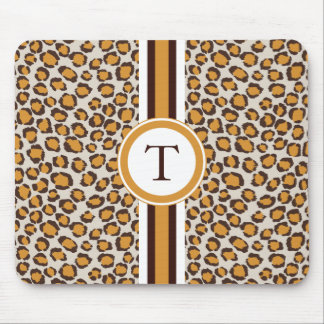 golden cheetah print  with monogram mouse pad