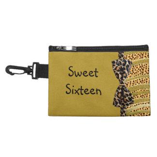 Golden Cheetah Sweet Sixteen Zebra Stripes Accessory Bag
