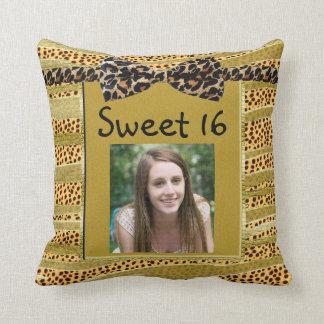 Golden Cheetah Sweet Sixteen Zebra Stripes Throw Pillows