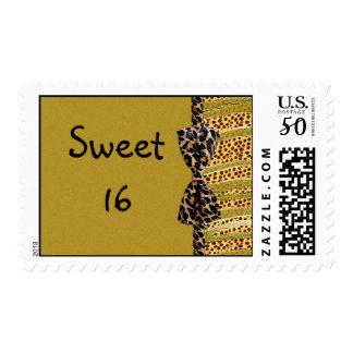 Golden Cheetah Sweet Sixteen Zebra Stripes Postage