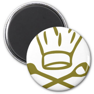 golden chef hat with wooden spoon icon 2 inch round magnet