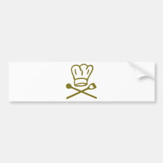 golden chef hat with wooden spoon icon bumper sticker
