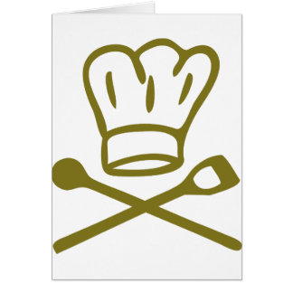 golden chef hat with wooden spoon icon card