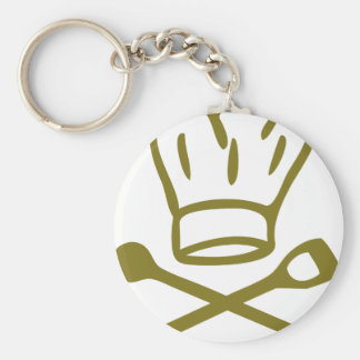 golden chef hat with wooden spoon icon keychain