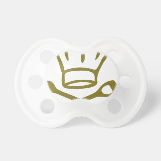 golden chef hat with wooden spoon icon pacifier