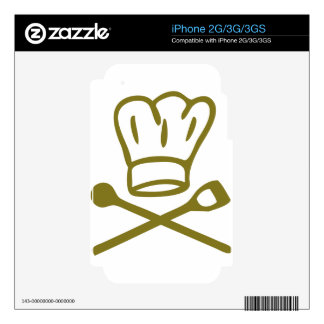 golden chef hat with wooden spoon icon decal for iPhone 3GS
