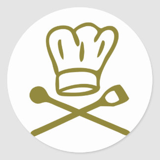golden chef hat with wooden spoon icon stickers