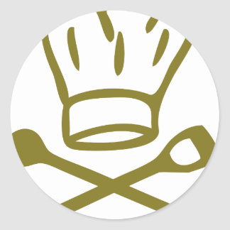 golden chef hat with wooden spoon icon round stickers