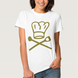 golden chef hat with wooden spoon icon t shirt