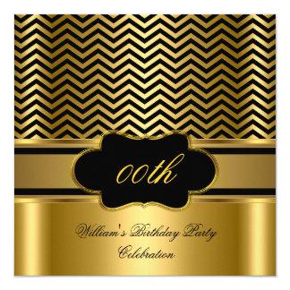 Golden Chevron Gold Black Stripe Birthday Party Card