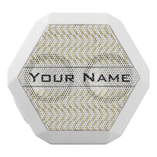 Golden Chevron Pattern, Elegant, Modern, Stylish White Boombot Rex Bluetooth Speaker