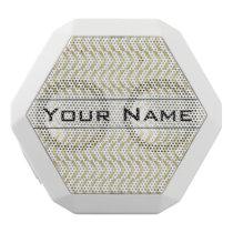 Golden Chevron Pattern, Elegant, Modern, Stylish White Bluetooth Speaker
